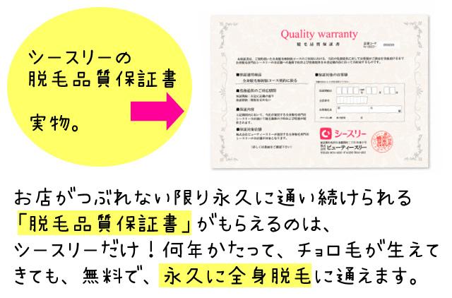 シースリー 脱毛品質保証書,シースリー 0円