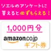 soeluで必ずもらえるamazonギフト券1,000円のもらい方。